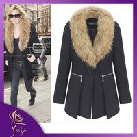 New Design Autumn and winter Wool Coat 2014 Women's Slim Medium-long Blend Wool Collar Plus Size XL~6XL Trench Coat Free Ship