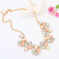 2014 Fashion women Jewelry Crystal Choker Chunky Statement Bib Pendant Chain Necklace #L10151