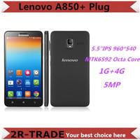 Original Lenovo A850+ Smartphone MTK6592M Octa Core Android 4.2 5.5 Inch IPS Screen 2500mA  1G+4G ROM WCDMA 3G A850 Plug Phone