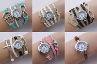 Multi Layer Chunky Combination Bracelet Watch Bangle Wrist With Crystal Heart  Infinity Pink Cancer Ribbon  Infinity Cross Charm