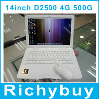 new and cheap 14 inch Windows 7 Laptop Gaming Computer Intel D2500 1.86Ghz Dual Core Ultrabook 4GB 500GB HDD Multi Language