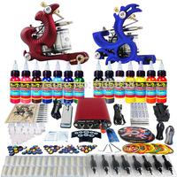 Complete Tattoo Kit 2 Pro Machine Guns 14 Inks Power Supply Needle Grips TK226