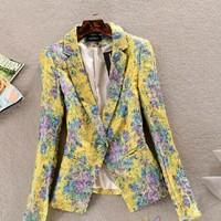 spring 2014 jackets women print blazer outerwear female all-match blazer slim elegant casual outwear Yellow Blazer woman clothes
