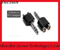 6.35mm Male to 2 RCA Stereo Headphone Jack Adapter Free Shipping