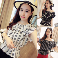 Free shipping 2014 summer dew shoulder falbala collar a word wave stripe women chiffon unlined upper garment jacket