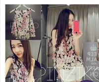 Women's 2014 summer charm small fresh double layer elegant sleeveless chiffon shirt top female