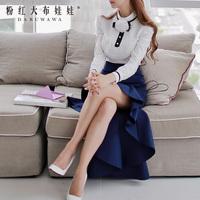 Shirt female 2014 white stand collar ruffle long-sleeve shirt