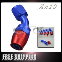 FREE SHIPPING 10 AN AN-10 45 Degree Aluminum Swivel Hose End Fitting Adapter Oil Fuel Line