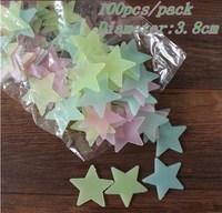 1 Pack Stars Glow in the Dark Luminous Fluorescent Plastic Wall Stickers