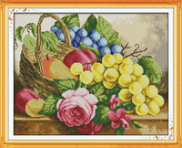 NEW!! Fruit Basket(4) Counted Cross Stitch Unfinished DMC Cross Stitch DIY Dimension Cross Stitch Kits for Embroidery Needlework