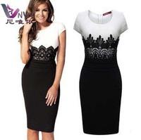 Summer dress 2014 desigual women work wear plus size women clothing fashion white black lace chiffon office bodycon dress W221