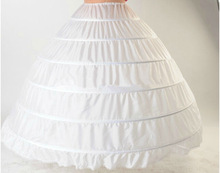 Free shipping High Quality White 6 Hoops Petticoat Crinoline Slip Underskirt For Wedding Dress Bridal Gown In Stock 2014(China (Mainland))