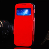 100pcs Thin Armor View Leather Case for Samsung Galaxy S4 i9500 Intelligent Automatic Sleep Wake Phone Cover Bags free shipping