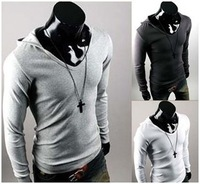 2014 Fall New England Style Casual Fashion Personality Slim Hooded Mens Long Sleeved T shirt   TX202
