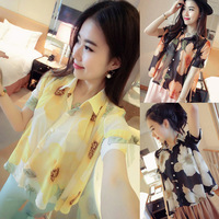 Free shipping 2014 summer collar off-the-shoulder printed chiffon unlined upper garment