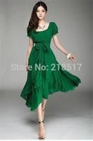 New Women summer dress New maxi chiffon casual dress O-Neck puff sleeve party dress Irregular Big Maxi long dress D-1570