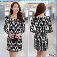 2014 new ladies dress long sleeve dress slim vestido