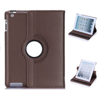 360 Degree Rotating w Swivel Stand PU Leather Case Cover For Ipad 2/3/4 - Brown