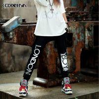 CQ-13 new 2014 Autumn big letter 3 M reflective harajuku women joggers hip hop harem pants jogging women baggy casual elastic