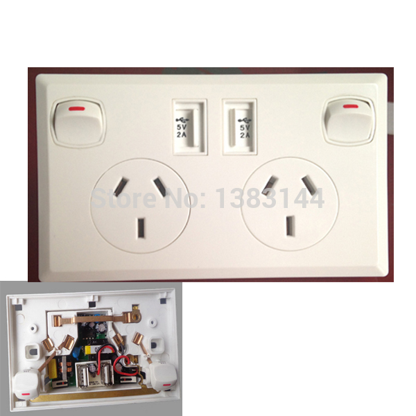 Double 250v electrical powerpoint switch socket / USB charger power outlet white(China (Mainland))
