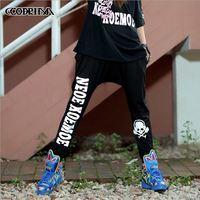 CQ-12 New 2014 Black letter 3 M reflective Capris elastic hip hop harem women joggers women's sports pants hip hop dance loose