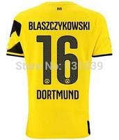 New Top Quality 2014 2015 Borussia Dortmund Home Yellow Away Black Soccer Jersey Thailand Quality BVB Home Jersey Custom NO.16