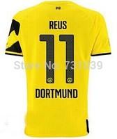 New Top Quality 2014 2015 Borussia Dortmund Home Yellow Away Black Soccer Jersey Thailand Quality BVB Home Jersey Custom NO.11