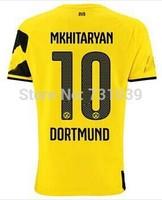 New Top Quality 2014 2015 Borussia Dortmund Home Yellow Away Black Soccer Jersey Thailand Quality BVB Home Jersey Custom NO.10