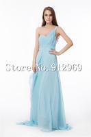 New arrival woman long dress party elegant one shoulder chiffon evening dress floor length summer dress 2014
