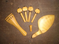 4 Sets Quality 4/4 BOXWOOD Violin parts including Chin rest tail piece & pegs end pin