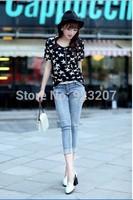 2014 Summer New Korean Style Ladies Sexy Elastic Ripped Jeans Girls Mid Waist Pencil Pant Women Seven Capris Blue Denim Trousers