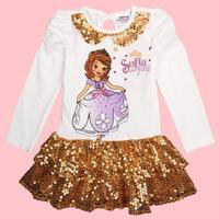 Sofia sequins girl dress 2014 new nova kids spangly dress ball gown long sleeve summer party evening causal dresses F4832