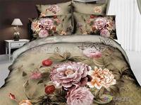 Classic oil painting 3d flowers Bedding Sets Queen Size 4pcs quilt/duvet cover bedlinen bedclothes bed sheet cotton home textile