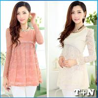 2014 European American Style Women A-line Novelty Lace Dresses O-neck PU Splice Winter Dress