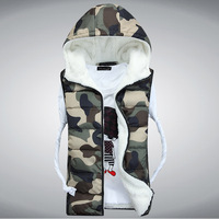 VT-104  Men's Camouflage  Warm Cotton Padded Waistcoat Fashion Hooded Couple Winter Vest For Men & Women M-3XL 4 Colors
