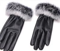 leather gloves ladies really rabbit warm mouth pu women's sheepskin gloves mittens