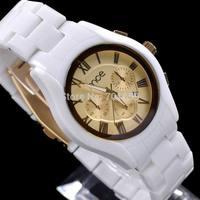 50pcs DHL 2014 MCE Woman White Fake Ceramic Watch Casual Fashion Ladies Relogio Feminino Women Dress Watches