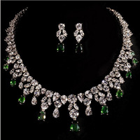 Anniversary  top quality  Emareld sapphire  lady's  Necklace and earrings  jewellery suit
