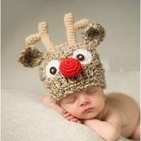 2014 Time-limited Top Fashion Unisex Wool 0-3 Months Children's Handmade Cap Crochet Knit Hat Cartoon Deer Shaped for Children
