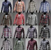 The new spring Men's long sleeved Plaid Shirt JA650