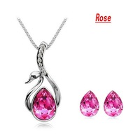 Fashion Jewelry Set Tot Crystal Jewelry Set  Gift Swan Earrings Necklace SWA ELEMENTS Austria Crystal Accessary 2pcs DJS131