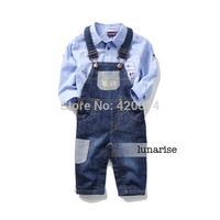 Children's clothing 2014 autumn male child baby denim bib pants baby trousers child jeans
