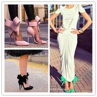 Fashion  pointed toe sandalias femininas  gladiator high heel big bow tie red blue pink suede leather sandals  stiletto heeled