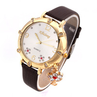 2014 New Style Fashion Alloy Analog Quartz Watch Crystal Hours Watches PU Band  Wristwatches Discount Pendant Promotion