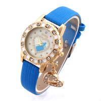 New Style Quartz Watch Women Dress Watch PU Band Girl Pattern Rhinestone Wristwatches Alloy Case Analog 2014 Discount