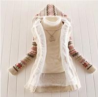 HOT SALE#Women Knitwear Thick Winter Hooded Cardigan Coat Loose Sweater Fleece Lined Tops