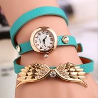2014 New fashion style angles wings women relogio feminino Rhinestone bracelet watch gold dail plated wrap quartz dress watches
