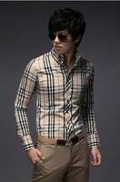 European Style Men's leisure plaid Long Sleeve Shirt JA690
