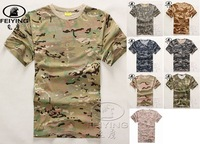 100% Camouflage cotton t-shirt male short-sleeve o-neck quick-drying t-shirt outdoor 100% cotton