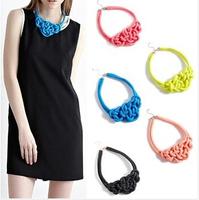 HOT SALE#Multicolor Handmade Knit Woven Fluorescent Color Cotton Rope Necklace Pendant